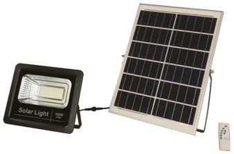 100W LED Solar Flood Light in Black