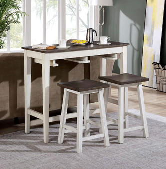 Elinor Counter Height Table Set in White and Gray