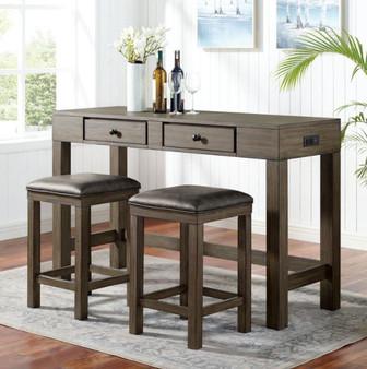 Gualde Counter Height Table Set in Dark Oak