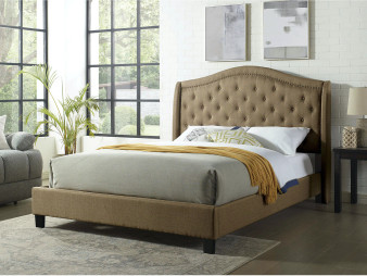 Carly Upholstered Queen Bedframe in Brown