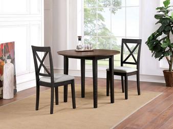 Veneta 3pc Dining Table Set in Walnut and Oak