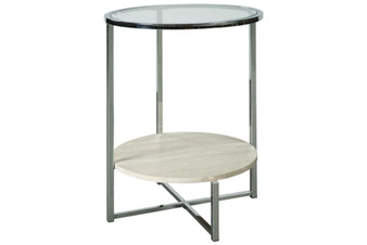 Bodalli End Table in Ivory and Chrome