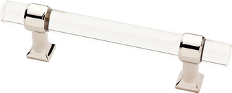 """Acrylic 3-3/4"""" Cabinet Pull in Polished Nickel"""