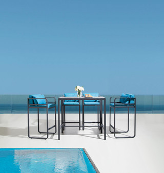 Season 5Pc Outdoor Bar Table Set in Charcoal Grey