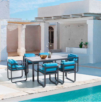 Season 7pc Outdoor Dining Table Set in Charcoal Grey