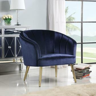 """35"""" Velvet Accent Chair in Blue"""