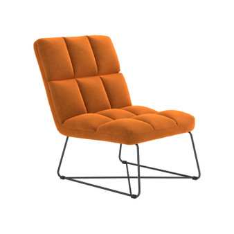 "24"" Velvet Accent Chair in Orange"