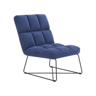 "24"" Velvet Accent Chair in Navy Blue"