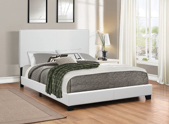 Muave Upholstered Queen Bedframe in White