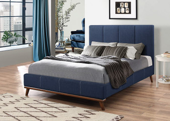 Charity Upholstered Queen Bedframe in Blue