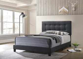 Mapes Upholstered Queen Bedframe in Charcoal