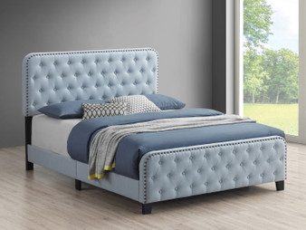 Littleton Upholstered Queen Bedframe in Blue