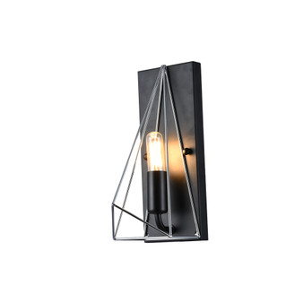 9383 1 Light Wall Sconce in Black and Chrome