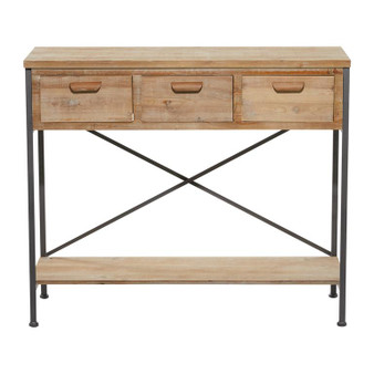 Light Wood & Black Metal Console Table