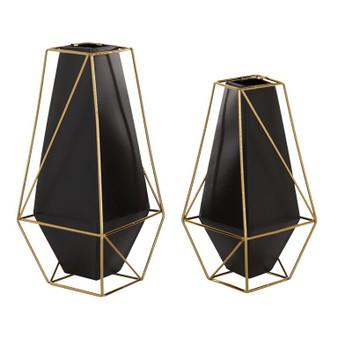 Gold & Black Vases (Set of 2)