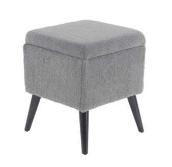 Grey Fur Fabric Storage Stool