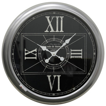 Metal and Glass Wall Clock in Black