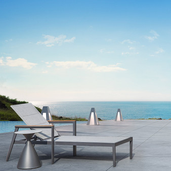 Phoenix Outdoor Chaise Lounge in Charcoal