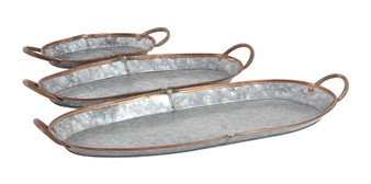 Oval Metal Trays (Set of 3)