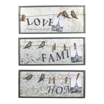 Wood & Metal Wall Signs (Set of 3)