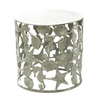 Round Aluminium Coastal Accent Table
