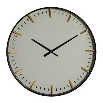 Gold, White & Black Metal Wall Clock