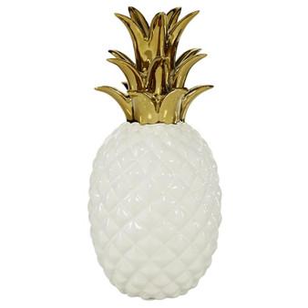 White & Gold Ceramic Pineapple