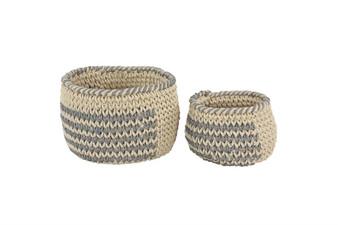 Grey & White Polyester Baskets (Set of 2)