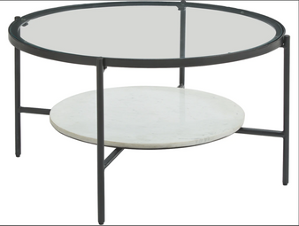Zalany Round Cocktail Table in Black/White