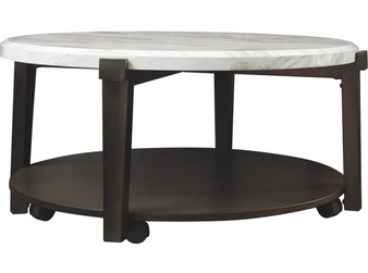 Janilly Round Cocktail Table in Dark Brown/White