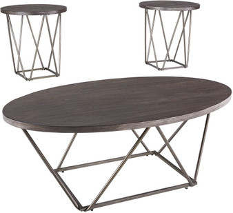 Neimhurst 3pc Occasional Table Set in Dark Brown