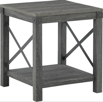 Freedan Square End Table in Greyish Brown