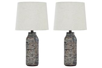 Mahima 2pc Table Lamp Set  in Black/White