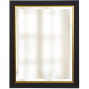 Black and Gold Finish Beveled Mirror (1267)