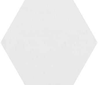 "Pris Shiny White 8""x 9"" Porcelain Hex Tile"