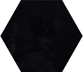 "Pris Shiny Black 8""x 9"" Porcelain Hex Tile"