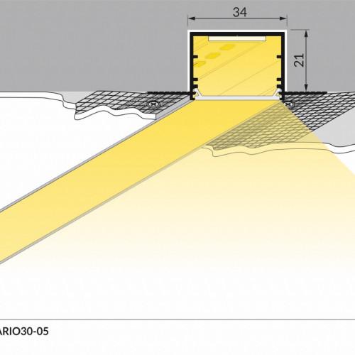 Profilo alluminio da incasso largo e alto