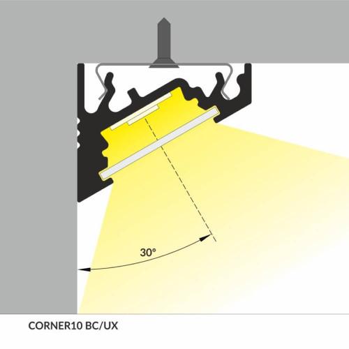 Profilo led corner alluminio strisce max 10 mm