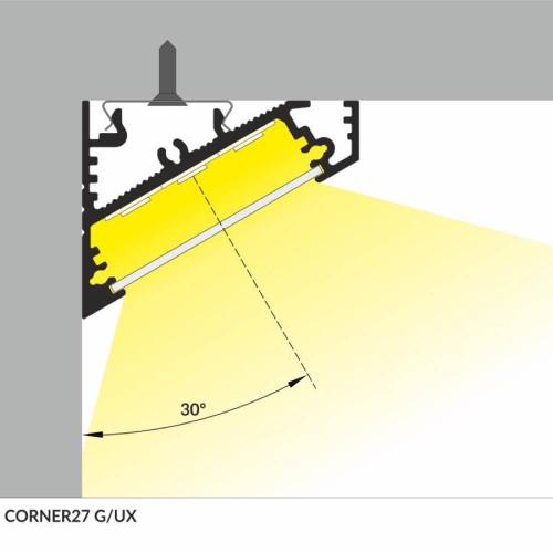 Profilo led corner alluminio strisce max 27 mm - posizionamento