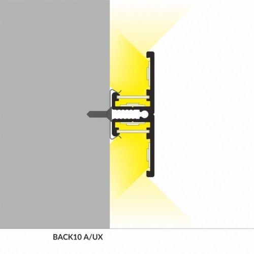Profilo led in alluminio da parete up-down - sezione