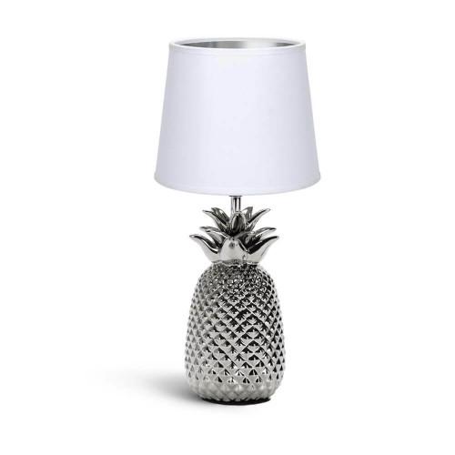 Lampada da tavolo in ceramica ad ananas argento