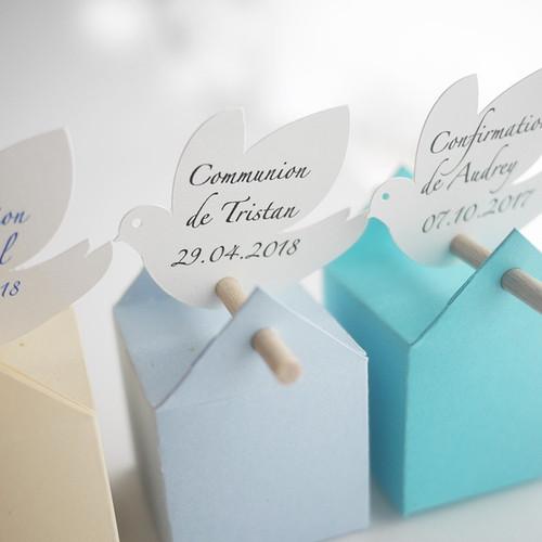 Personalisiertes Taubenetikett für Taufe, Kommunion und Konfirmation
