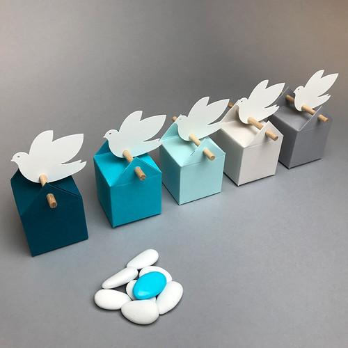 Kit cumulus blau, Bomboniere und Etikette für eine Taufe