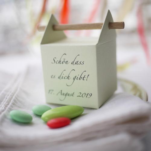 Personalisierte Zapfenbox in pastellgrün