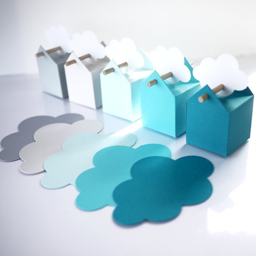 Tischkarte und Tischdekoration Wolke