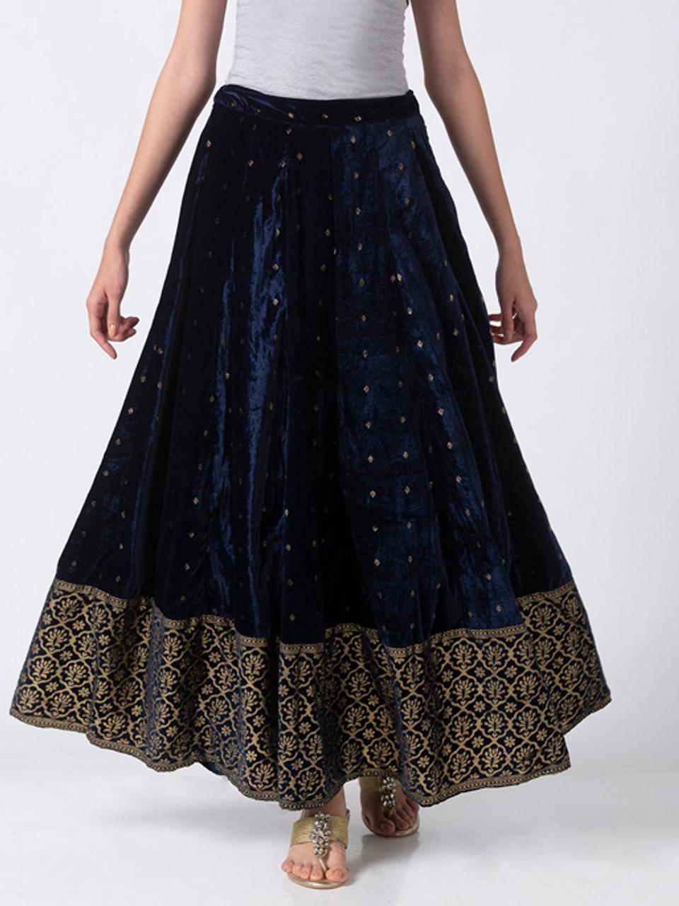 Ethnicity Royal Navy Blue Velvet Lehenga Skirt With Gold Print And Border In Sattva