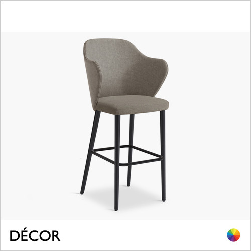 Page Bar Stool with Tapered Wooden Legs in Designer Fabrics & Eco Leathers, Bar & Counter Heights - Made for You - Décor for Home