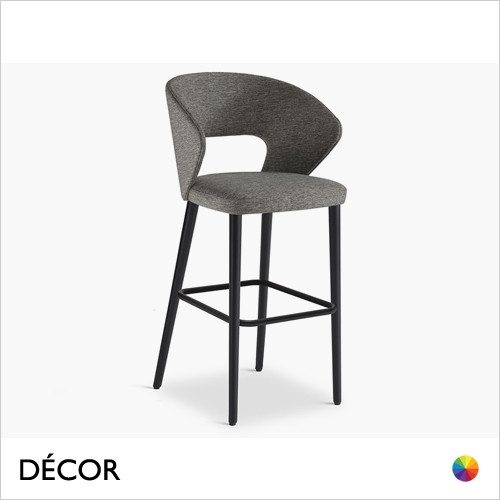 Fard Bar Stool with Tapered Wooden Legs