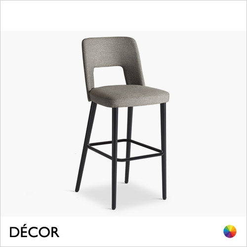 Uma Bar Stool with Tapered Wooden Legs in Designer Fabrics & Eco Leathers, Bar & Counter Heights - Made for You - Décor for Home & Business