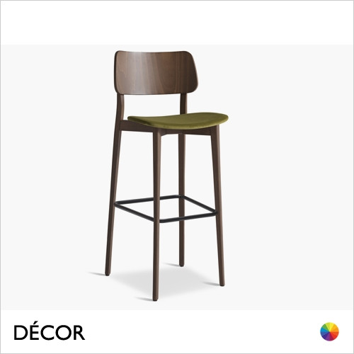 11A1 Tula Bar Stool in Designer Fabrics & Classic Eco Leathers with a Wooden Backrest and Tapered Wooden Legs, Bar & Counter heights - In Designer Fabrics & Eco Leathers - Made for You - Décor for Home & Business